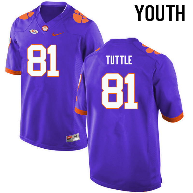 Youth Clemson Tigers #81 Kanyon Tuttle College Football Jerseys-Purple
